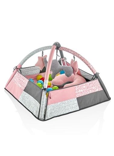 BabyJem 70 X 70 Cm 3 Fonksiyonlu Eğitsel Gül Kurusu Bebek Oyun Jimnastik Halısı Pembe